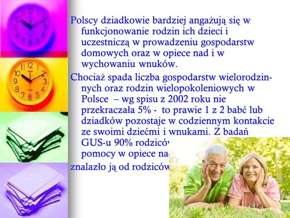 Polscy dziadkowie bardziej angażują się w funkcjonowanie rodzin ich dzieci i uczestniczą w prowadzeniu gospodarstw domowych oraz w opiece nad i w wychowaniu wnuków.