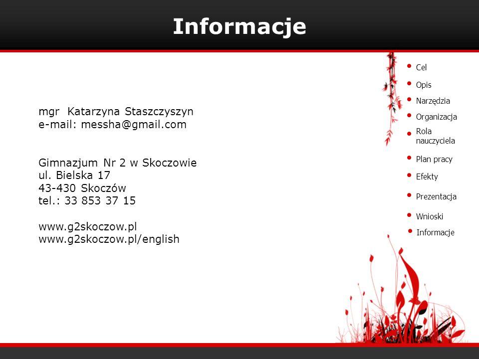 Informacje mgr Katarzyna Staszczyszyn e-mail: messha@gmail.com