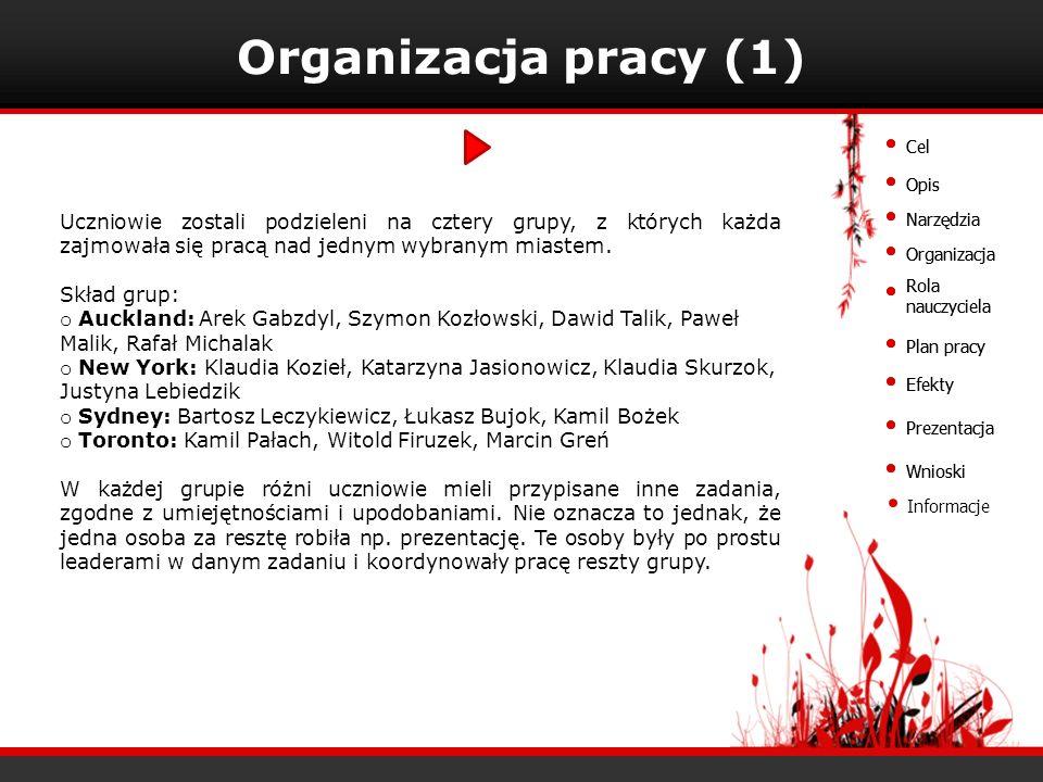 Organizacja pracy (1) Cel. Cel. Opis. Opis.