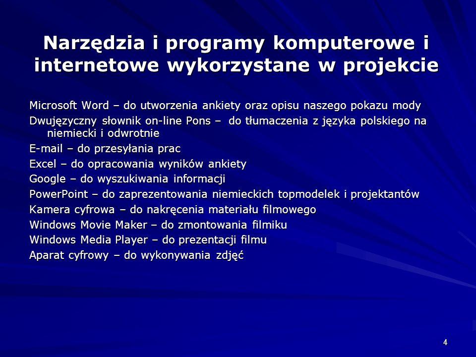 Narzędzia i programy komputerowe i internetowe wykorzystane w projekcie