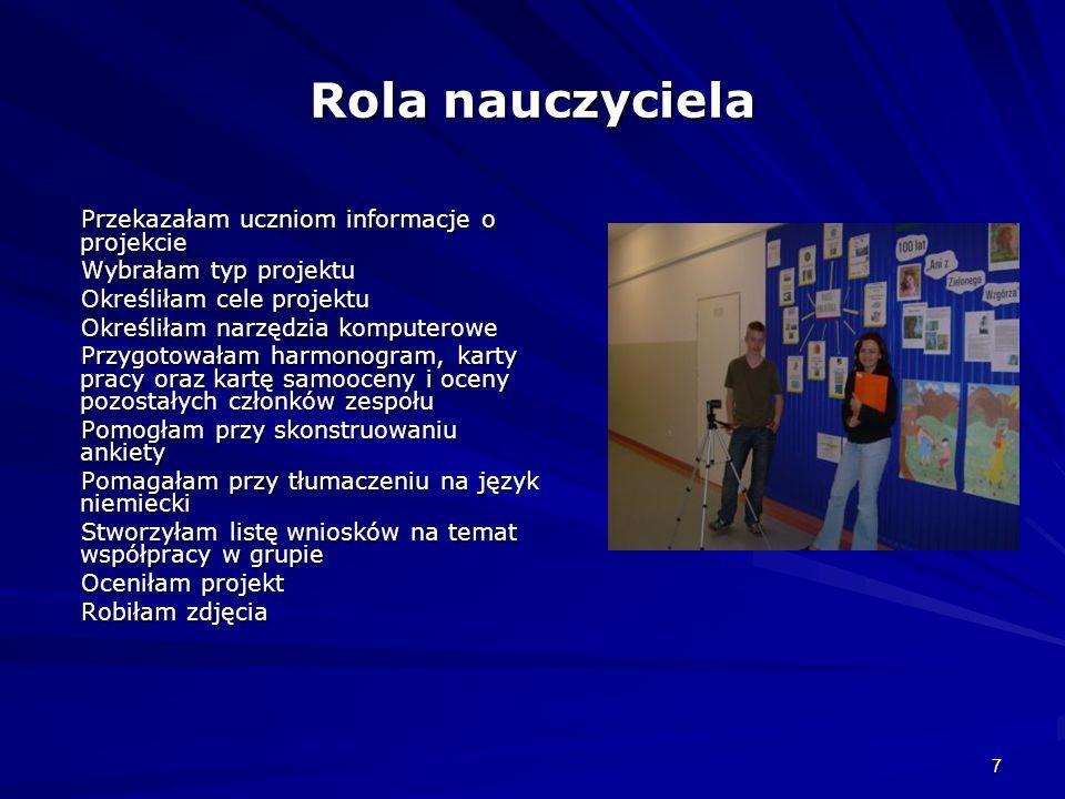 Rola nauczyciela Przekazałam uczniom informacje o projekcie