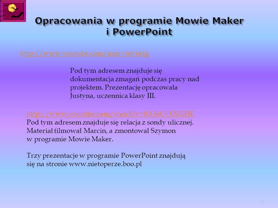 Opracowania w programie Mowie Maker i PowerPoint