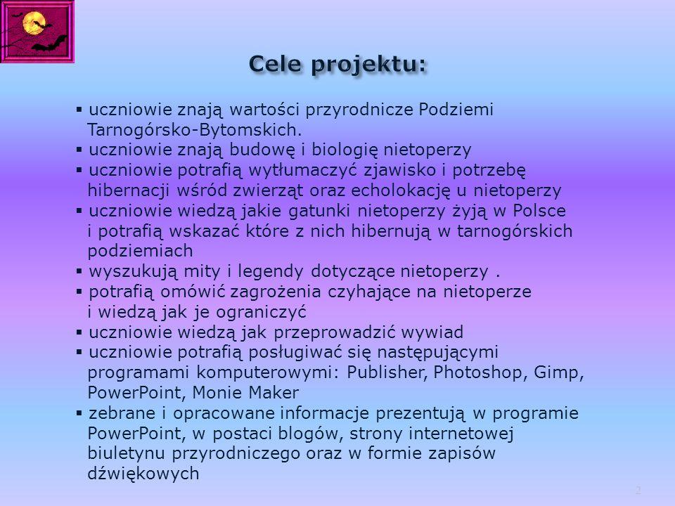 Cele projektu: uczniowie znają wartości przyrodnicze Podziemi Tarnogórsko-Bytomskich. uczniowie znają budowę i biologię nietoperzy.