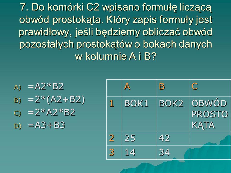 7. Do komórki C2 wpisano formułę liczącą obwód prostokąta