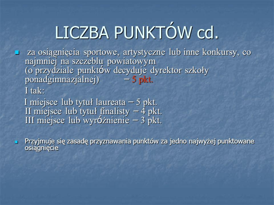 LICZBA PUNKTÓW cd.