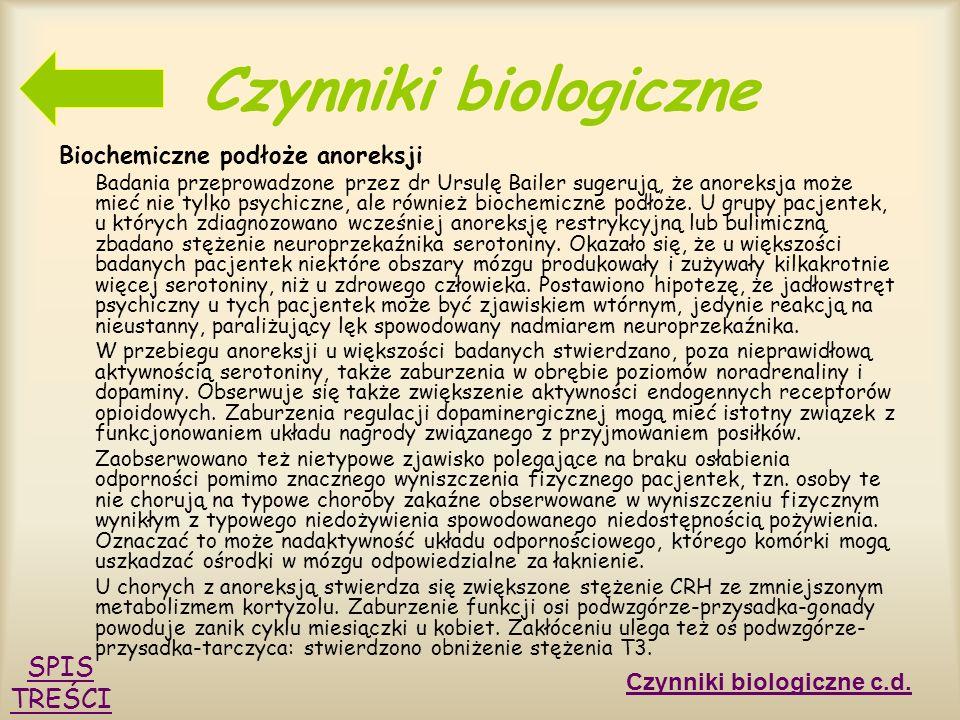 Czynniki biologiczne SPIS TREŚCI Biochemiczne podłoże anoreksji
