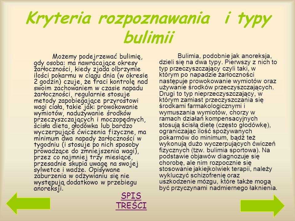 Kryteria rozpoznawania i typy bulimii