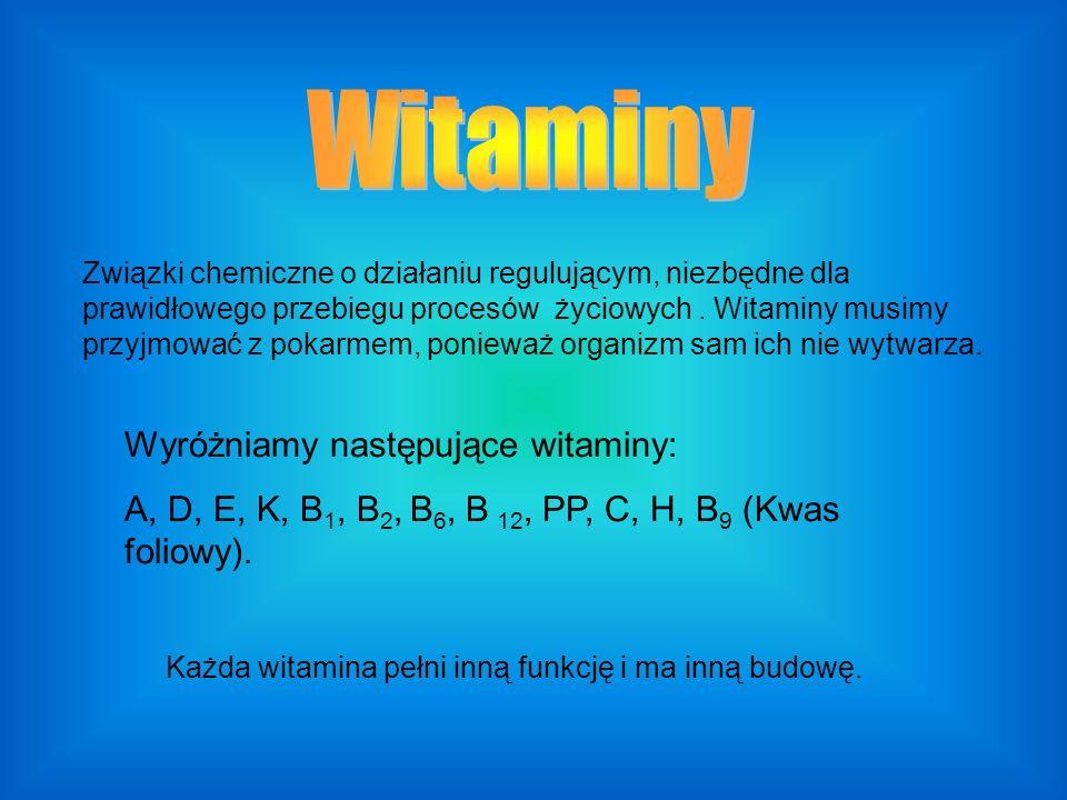 Witaminy Wyróżniamy następujące witaminy: