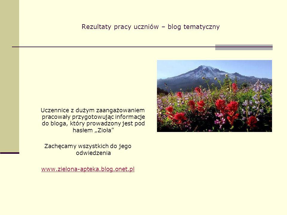 Rezultaty pracy uczniów – blog tematyczny