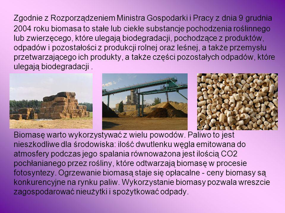 Zgodnie z Rozporządzeniem Ministra Gospodarki i Pracy z dnia 9 grudnia 2004 roku biomasa to stałe lub ciekłe substancje pochodzenia roślinnego lub zwierzęcego, które ulegają biodegradacji, pochodzące z produktów, odpadów i pozostałości z produkcji rolnej oraz leśnej, a także przemysłu przetwarzającego ich produkty, a także części pozostałych odpadów, które ulegają biodegradacji .