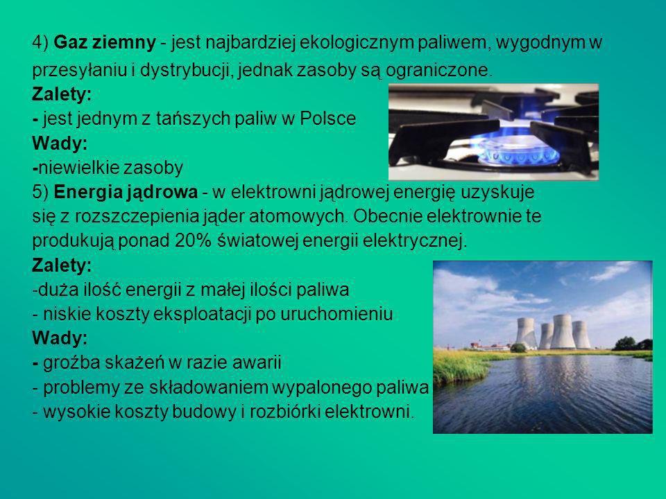 4) Gaz ziemny - jest najbardziej ekologicznym paliwem, wygodnym w
