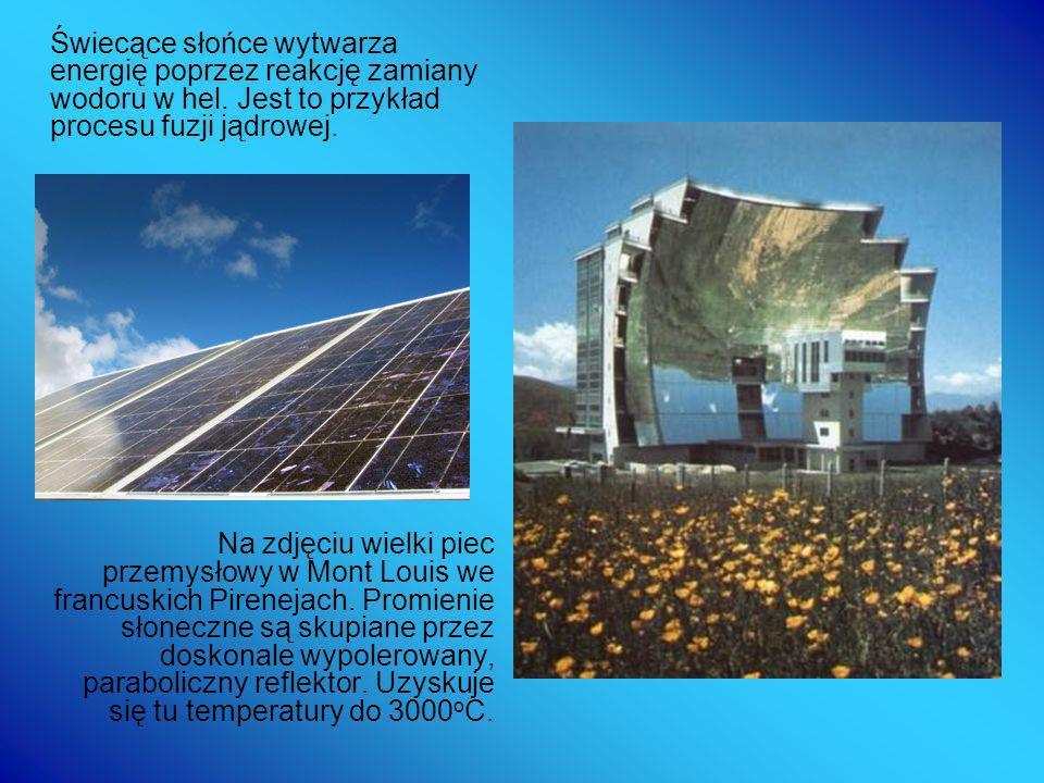 Świecące słońce wytwarza energię poprzez reakcję zamiany wodoru w hel