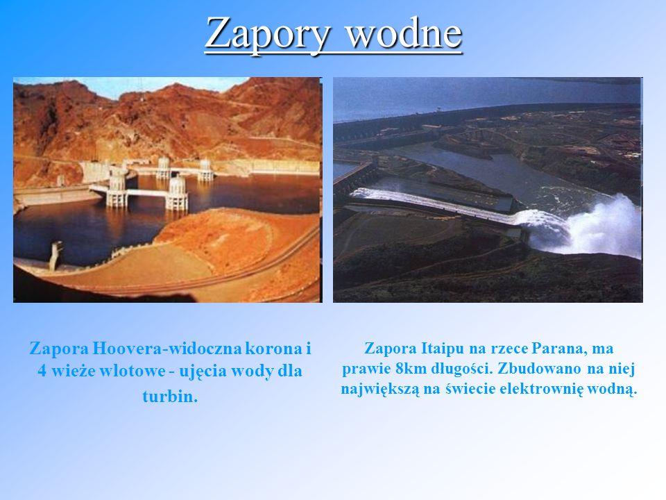 Zapory wodne Zapora Hoovera-widoczna korona i 4 wieże wlotowe - ujęcia wody dla turbin.