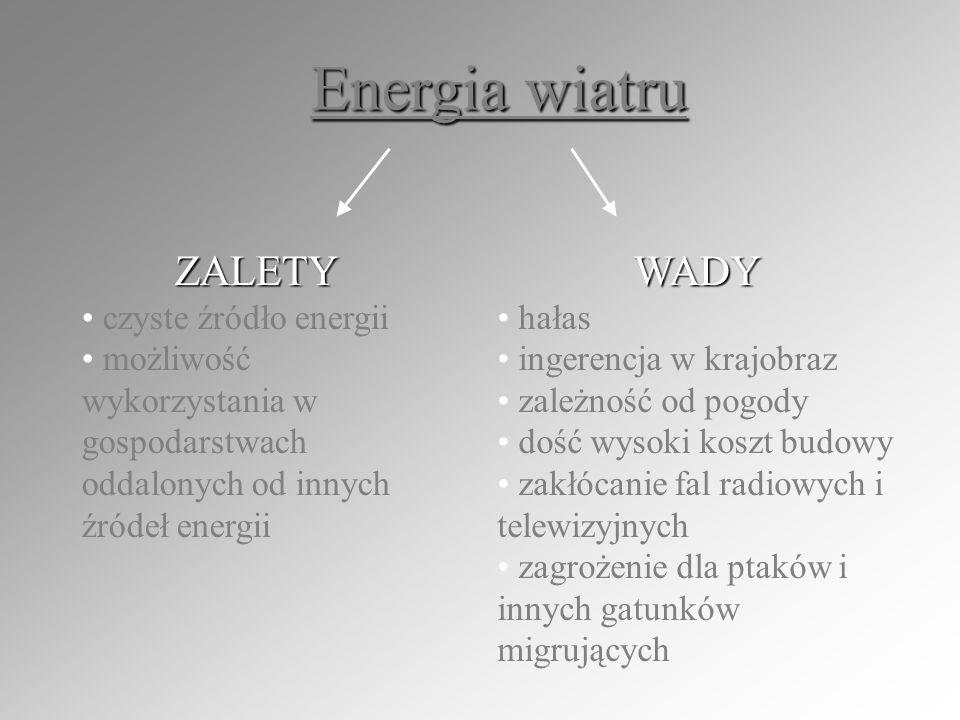 Energia wiatru ZALETY WADY czyste źródło energii