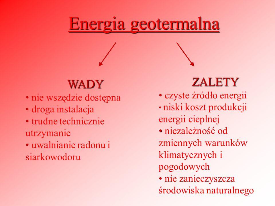 Energia geotermalna ZALETY WADY czyste źródło energii