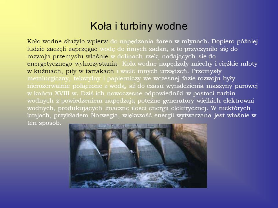 Koła i turbiny wodne