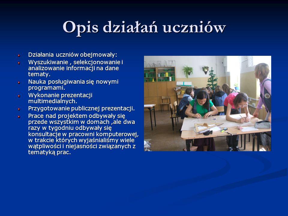Opis działań uczniów Działania uczniów obejmowały: