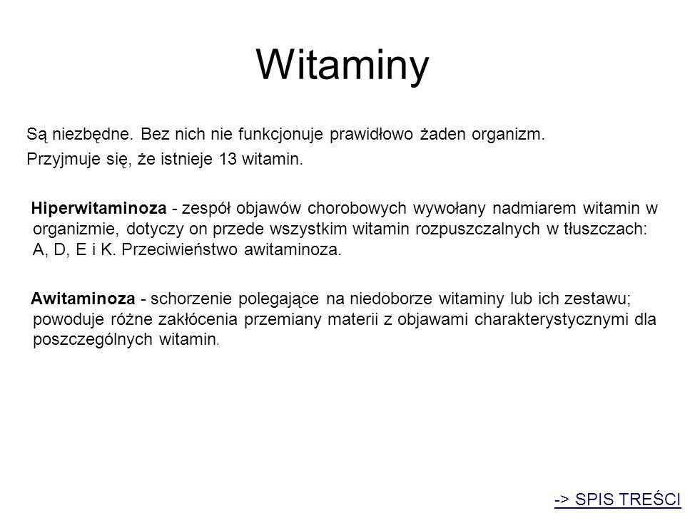 Witaminy Są niezbędne. Bez nich nie funkcjonuje prawidłowo żaden organizm. Przyjmuje się, że istnieje 13 witamin.