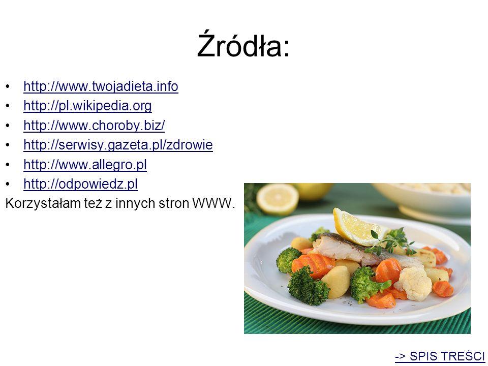 Źródła: http://www.twojadieta.info http://pl.wikipedia.org