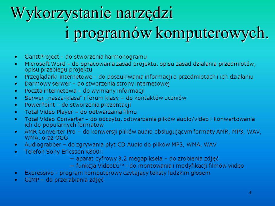 Wykorzystanie narzędzi i programów komputerowych.