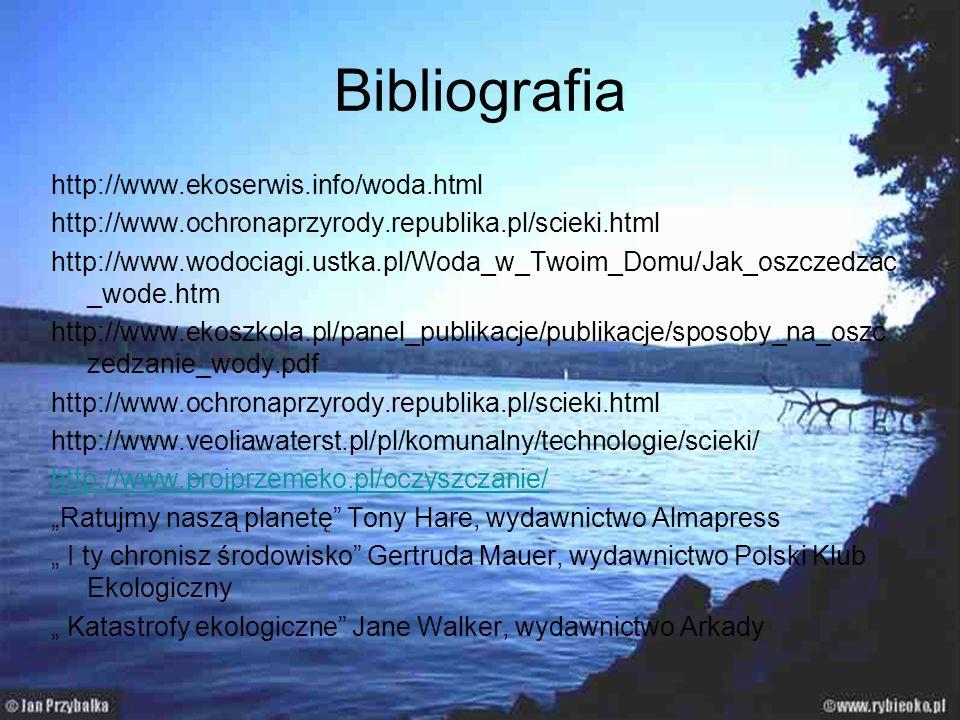 Bibliografia http://www.ekoserwis.info/woda.html