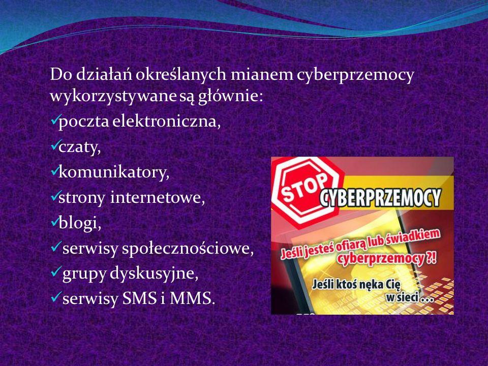 Do działań określanych mianem cyberprzemocy wykorzystywane są głównie: