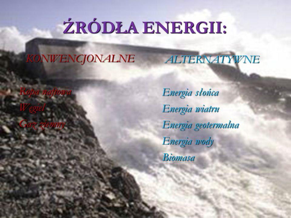 ŹRÓDŁA ENERGII: KONWENCJONALNE ALTERNATYWNE Ropa naftowa