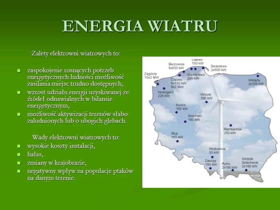 ENERGIA WIATRU Zalety elektrowni wiatrowych to: