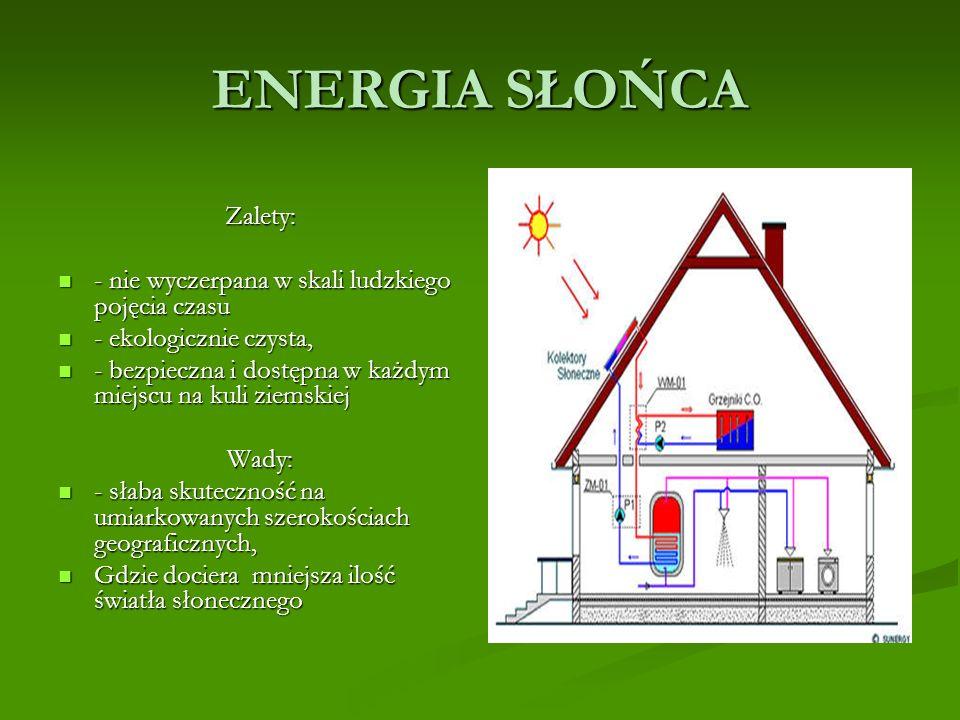 ENERGIA SŁOŃCA Zalety: