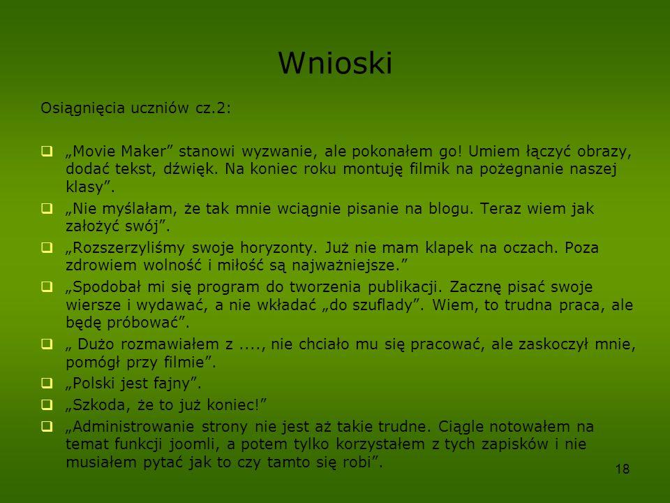 Wnioski Osiągnięcia uczniów cz.2: