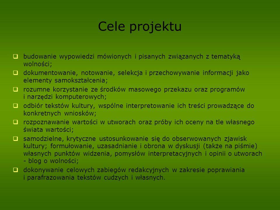 Cele projektu budowanie wypowiedzi mówionych i pisanych związanych z tematyką wolności;