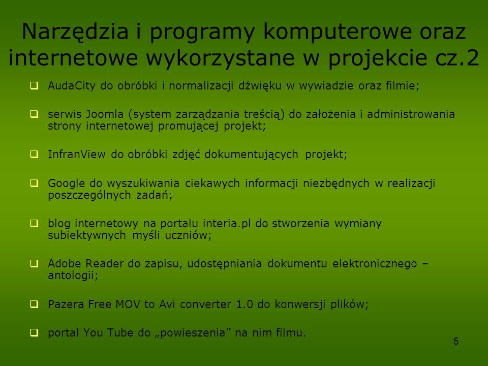 Narzędzia i programy komputerowe oraz internetowe wykorzystane w projekcie cz.2
