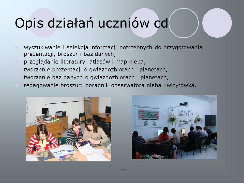 Opis działań uczniów cd