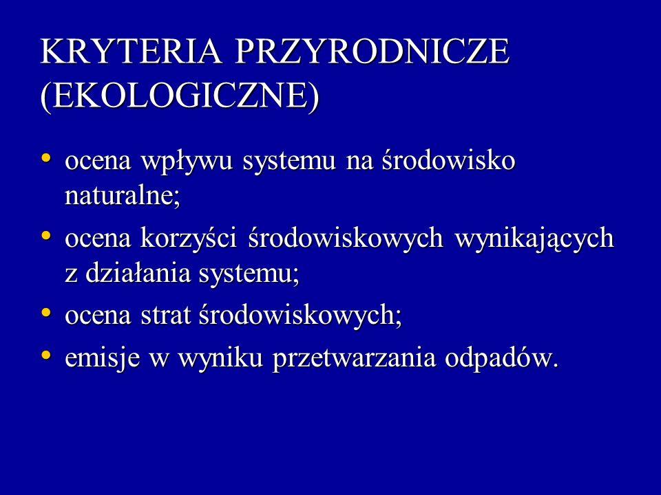 KRYTERIA PRZYRODNICZE (EKOLOGICZNE)