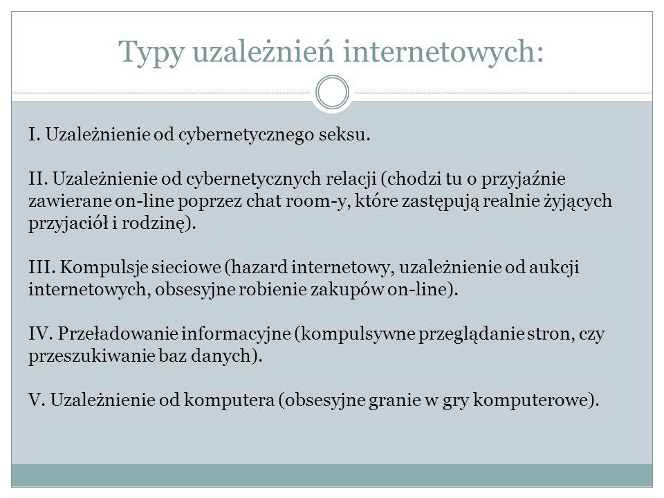 Typy uzależnień internetowych: