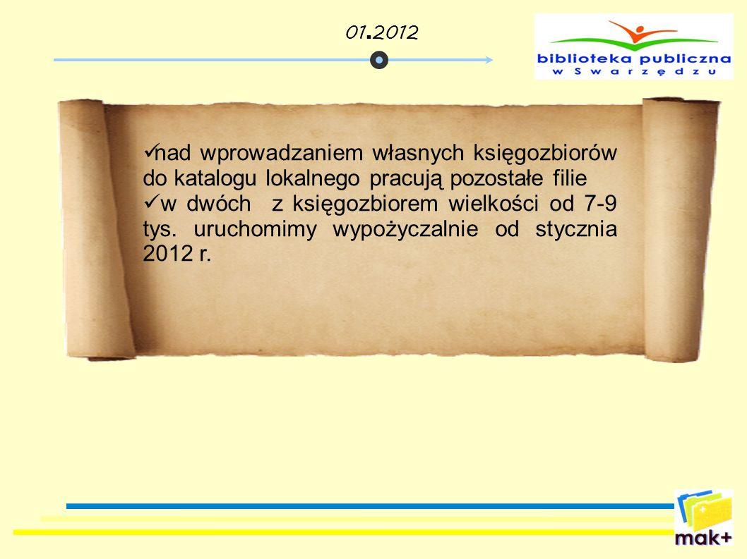01.2012 nad wprowadzaniem własnych księgozbiorów do katalogu lokalnego pracują pozostałe filie.