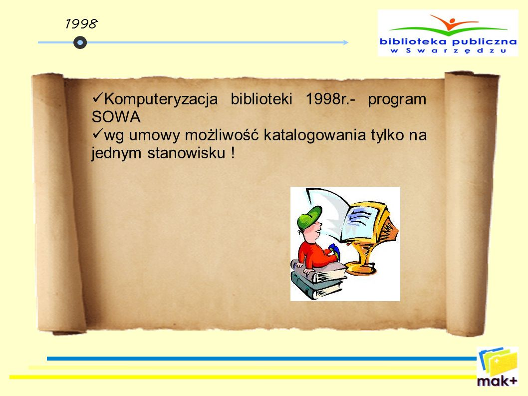 Komputeryzacja biblioteki 1998r.- program SOWA