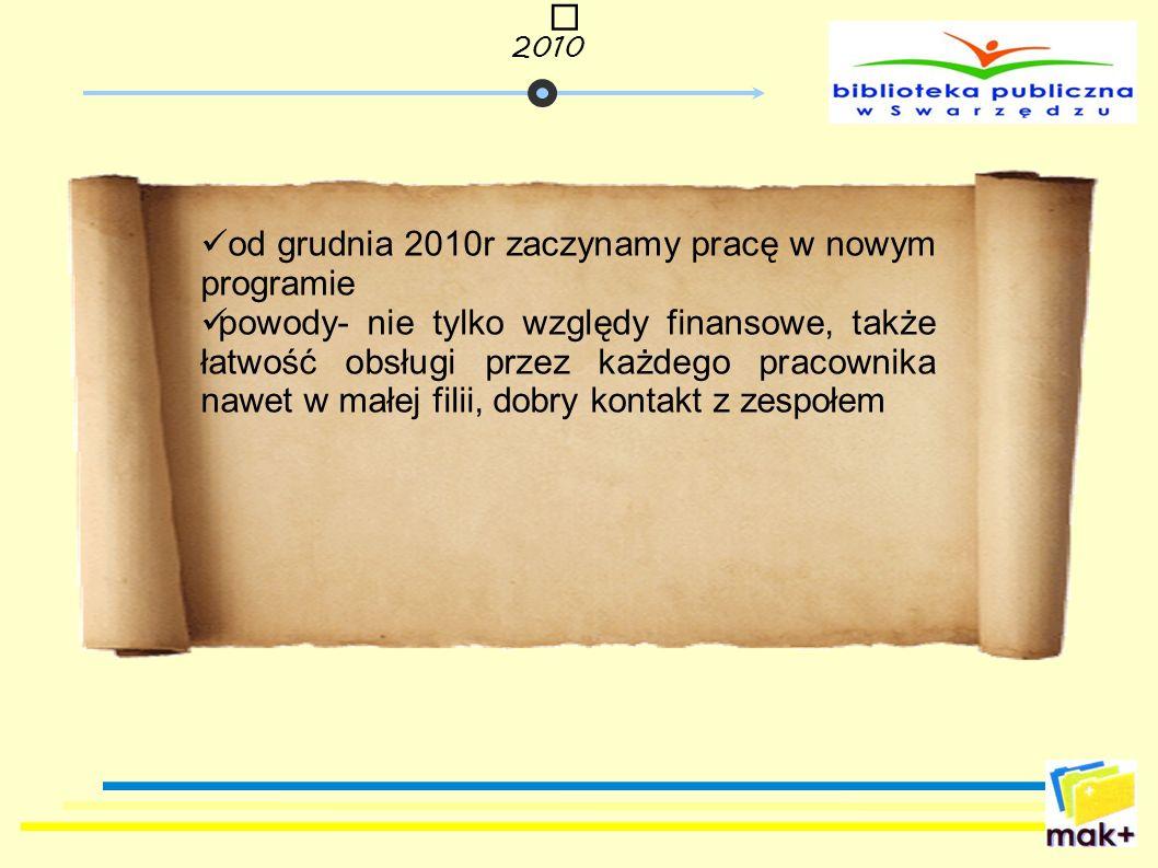 od grudnia 2010r zaczynamy pracę w nowym programie
