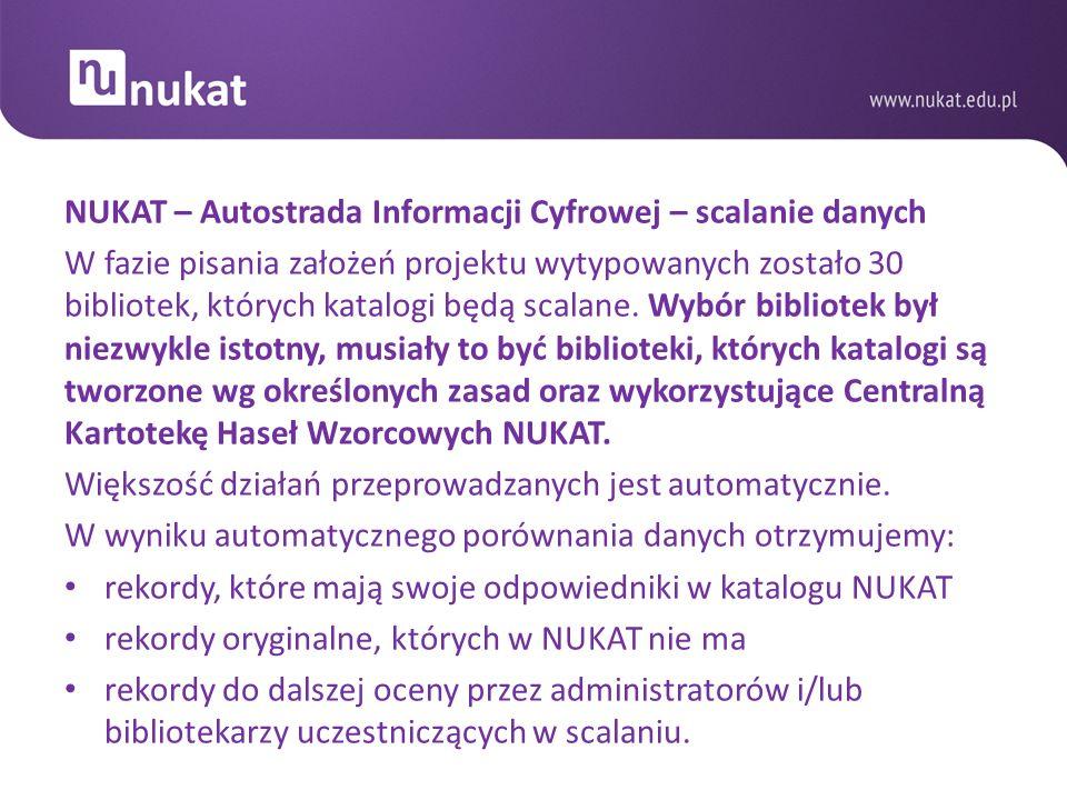 NUKAT – Autostrada Informacji Cyfrowej – scalanie danych