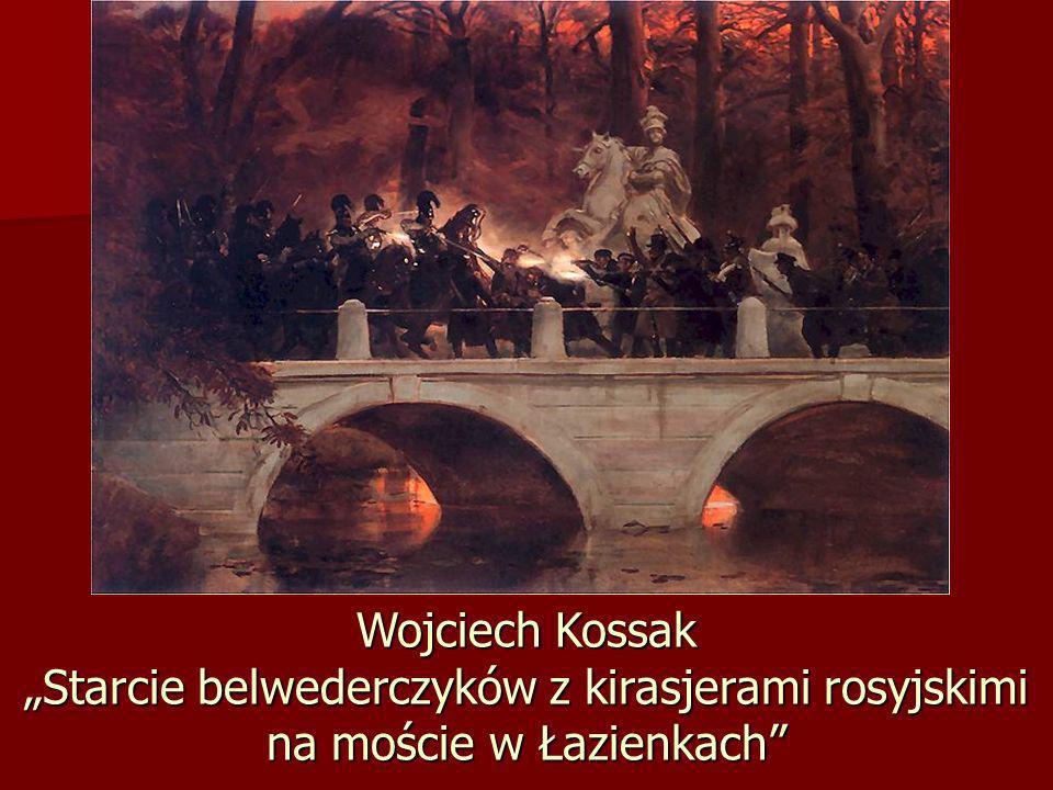"""Wojciech Kossak """"Starcie belwederczyków z kirasjerami rosyjskimi na moście w Łazienkach"""