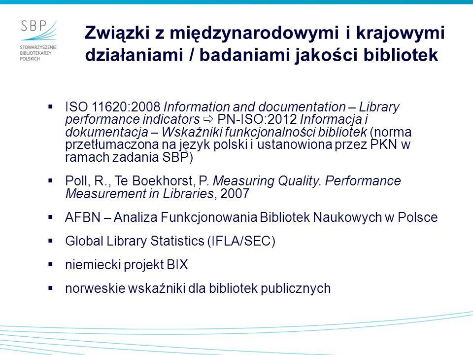 Związki z międzynarodowymi i krajowymi działaniami / badaniami jakości bibliotek
