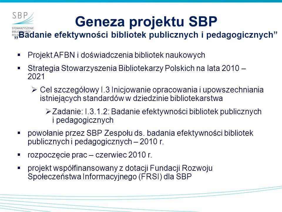 """Geneza projektu SBP """"Badanie efektywności bibliotek publicznych i pedagogicznych"""