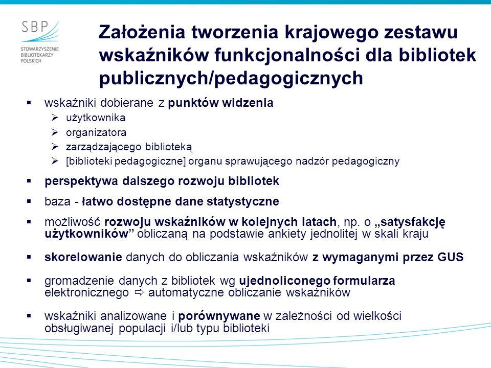 Założenia tworzenia krajowego zestawu wskaźników funkcjonalności dla bibliotek publicznych/pedagogicznych