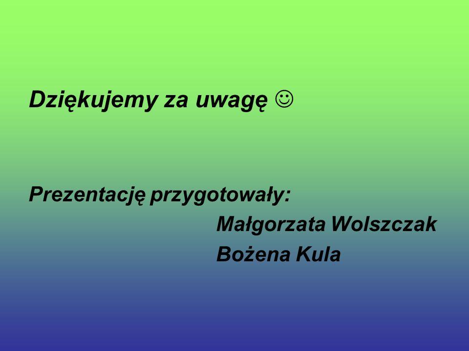 Dziękujemy za uwagę  Prezentację przygotowały: Małgorzata Wolszczak