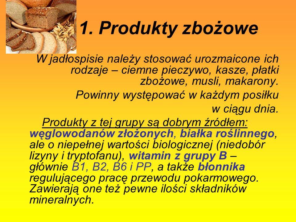 1. Produkty zbożowe W jadłospisie należy stosować urozmaicone ich rodzaje – ciemne pieczywo, kasze, płatki zbożowe, musli, makarony.