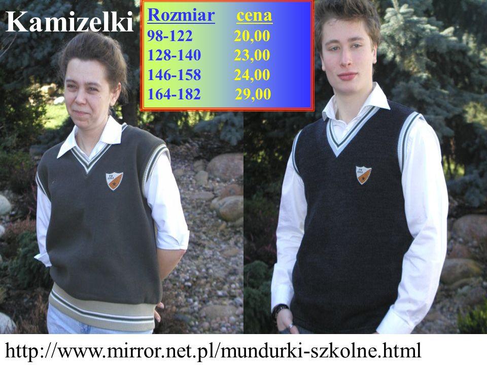 Kamizelki http://www.mirror.net.pl/mundurki-szkolne.html Rozmiar cena