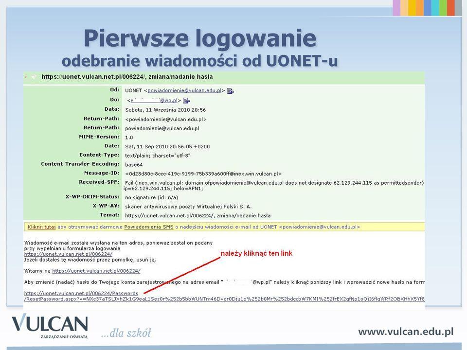 Pierwsze logowanie odebranie wiadomości od UONET-u