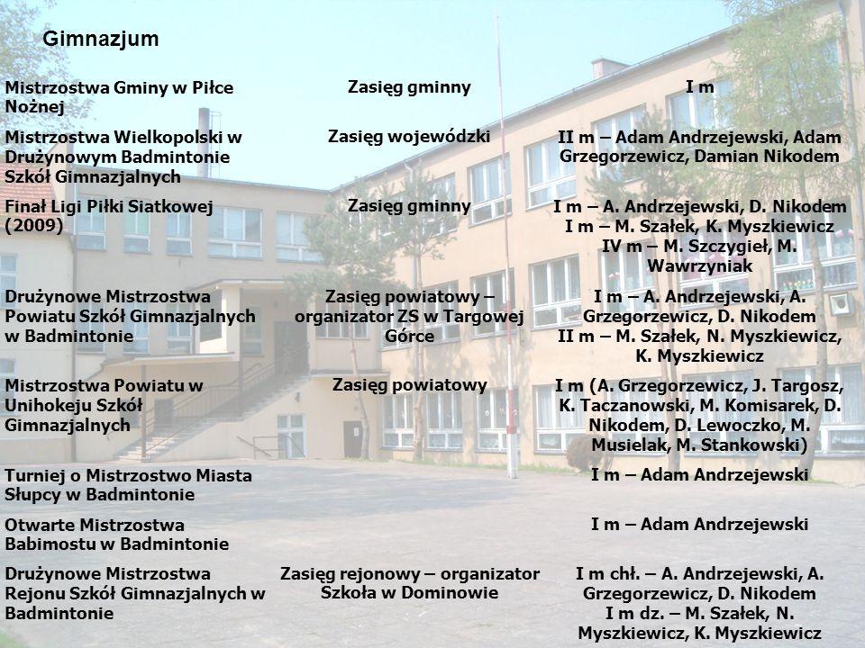 Gimnazjum Mistrzostwa Gminy w Piłce Nożnej Zasięg gminny I m