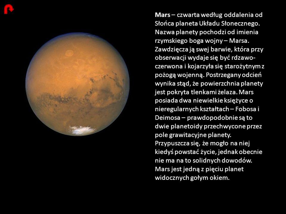 Mars – czwarta według oddalenia od Słońca planeta Układu Słonecznego