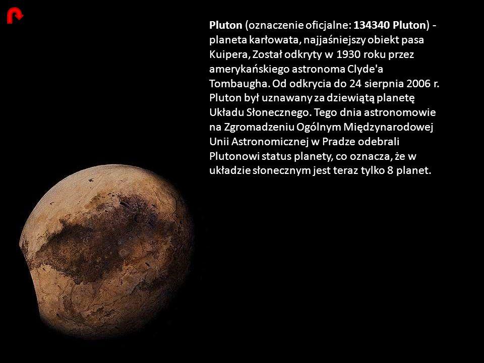 Pluton (oznaczenie oficjalne: 134340 Pluton) - planeta karłowata, najjaśniejszy obiekt pasa Kuipera, Został odkryty w 1930 roku przez amerykańskiego astronoma Clyde a Tombaugha.